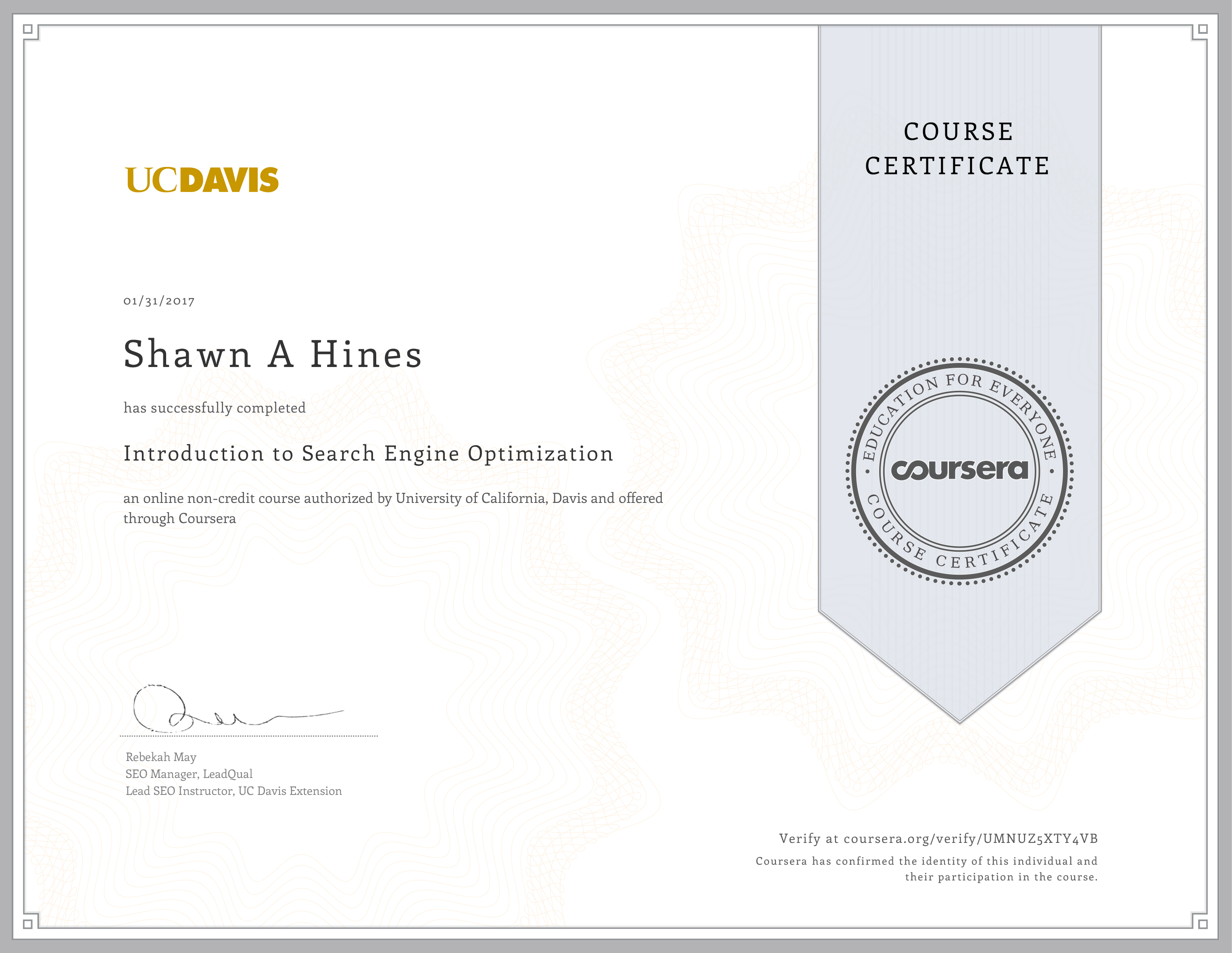 Introduction to SEO - UC-Davis Extension on Coursera