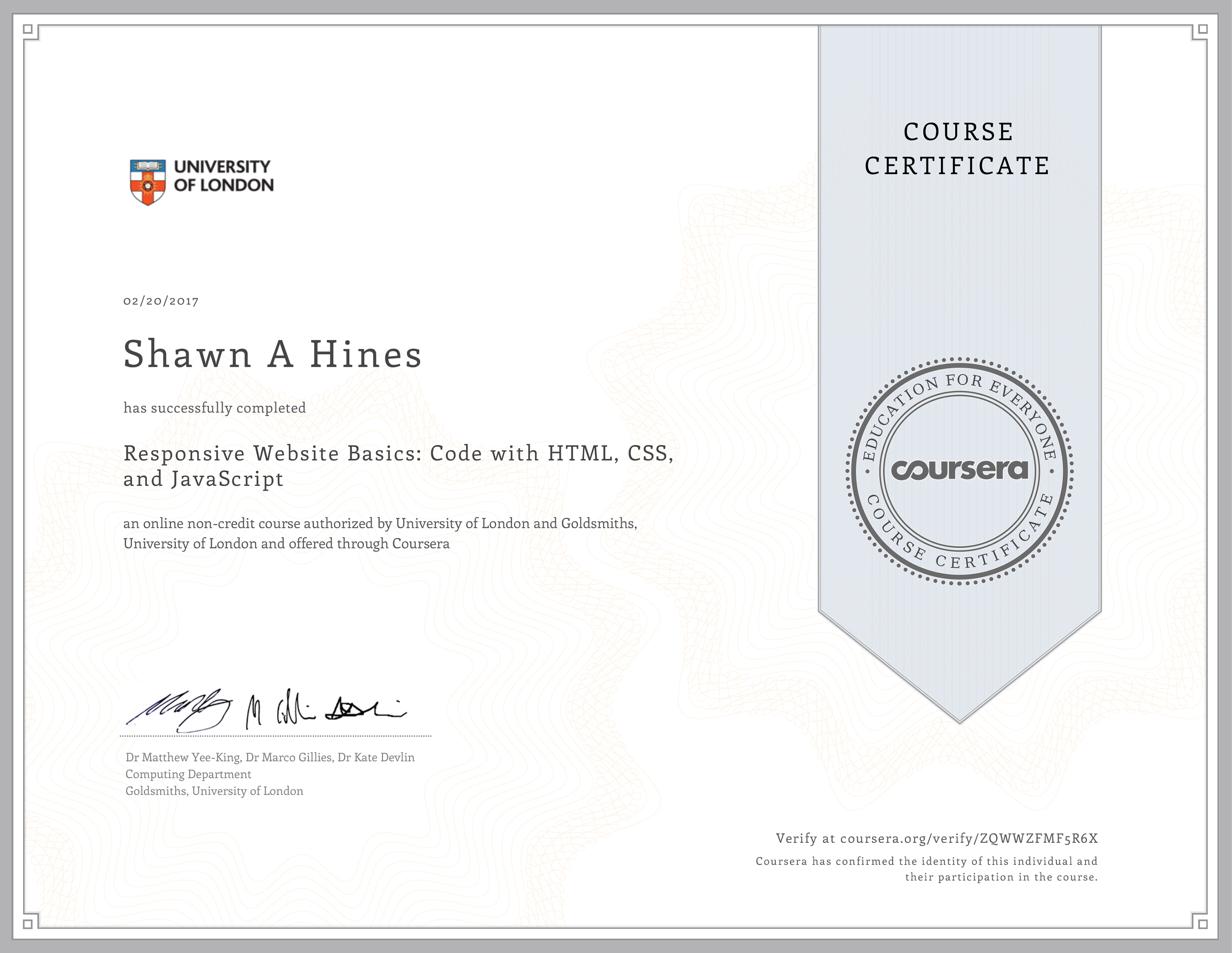HTML, CSS, and JavaScript - University of London on Coursera