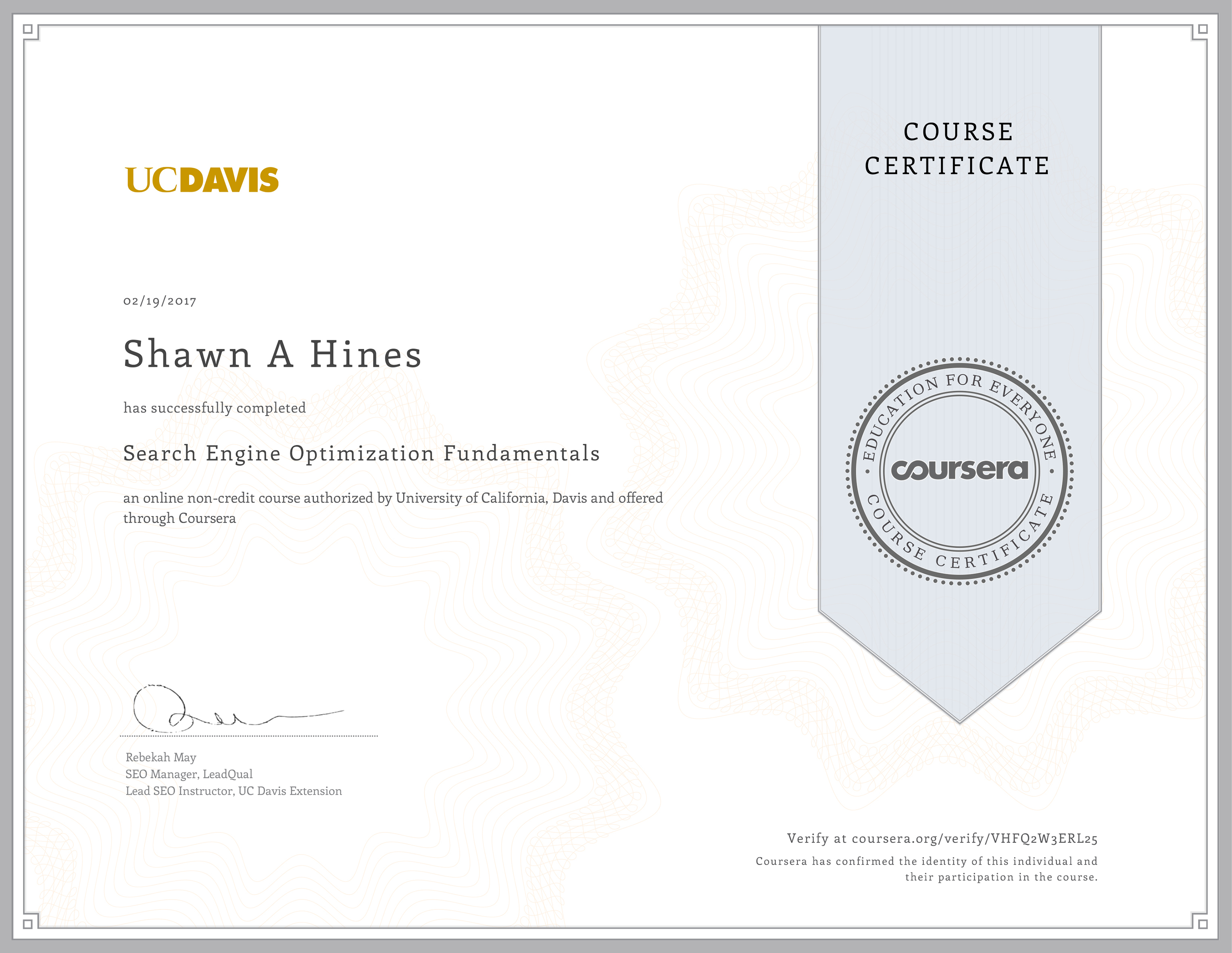 Search Engine Optimization Fundamentals - UC-Davis Extension on Coursera